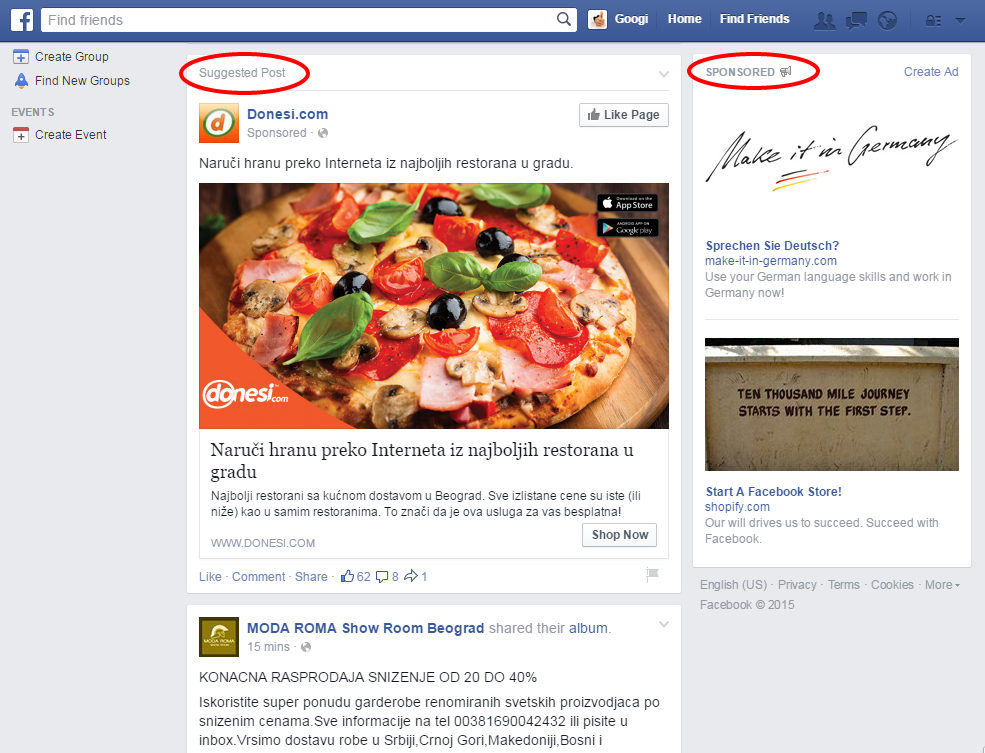 Primer Facebook oglasa