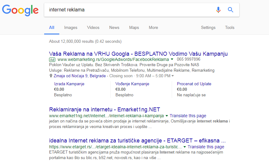 internet reklama Google Search